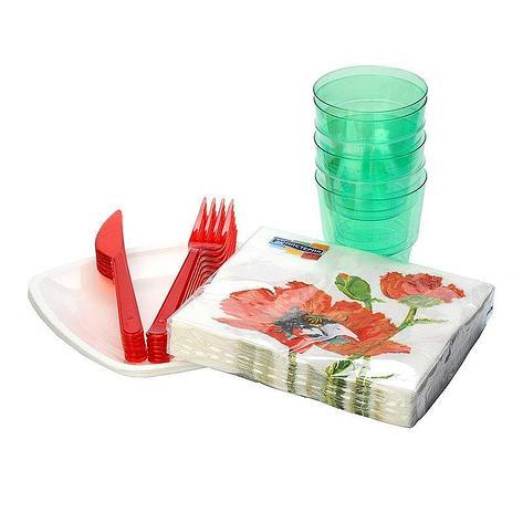 "Набор ""Buffet style"" (6 тар.квадр.d180мм,6 вилок,6 ножей,6 стак.кристал,6 салф. с дизайном) дизайн в, фото 2"