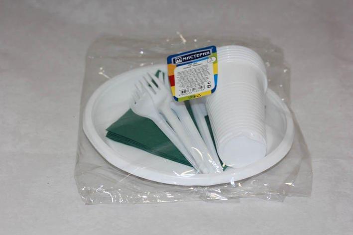 """Набор """"Пикник"""" ( 6 стак 0,2л., 6 тарелок, 6 вилок, 6 ножей,  6 салф.цветная), фото 2"""