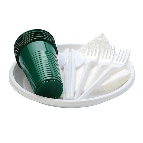 """Набор """"Пикничок"""" (6 вилок, 6 ножей, 6 цв.стаканов 0,2л, 6 бел. тарелок, 6 салф.белая), фото 2"""