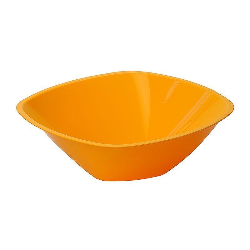 Салатник 1.25л, квадратн., 210х210мм, оранж., ПП, 3 шт