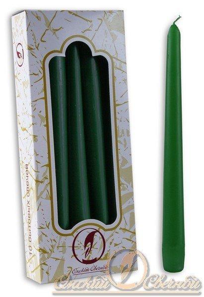 Свечи античные 240 мм  (d=22мм) зеленая. парафин, 10 шт