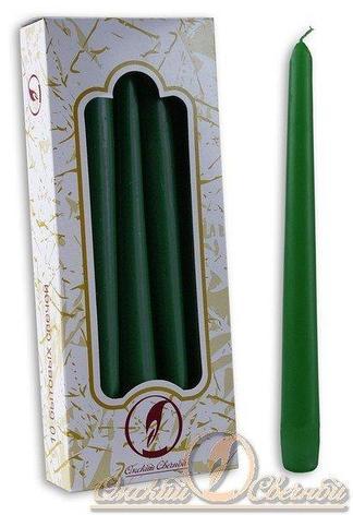 Свечи античные 240 мм  (d=22мм) зеленая. парафин, 10 шт, фото 2
