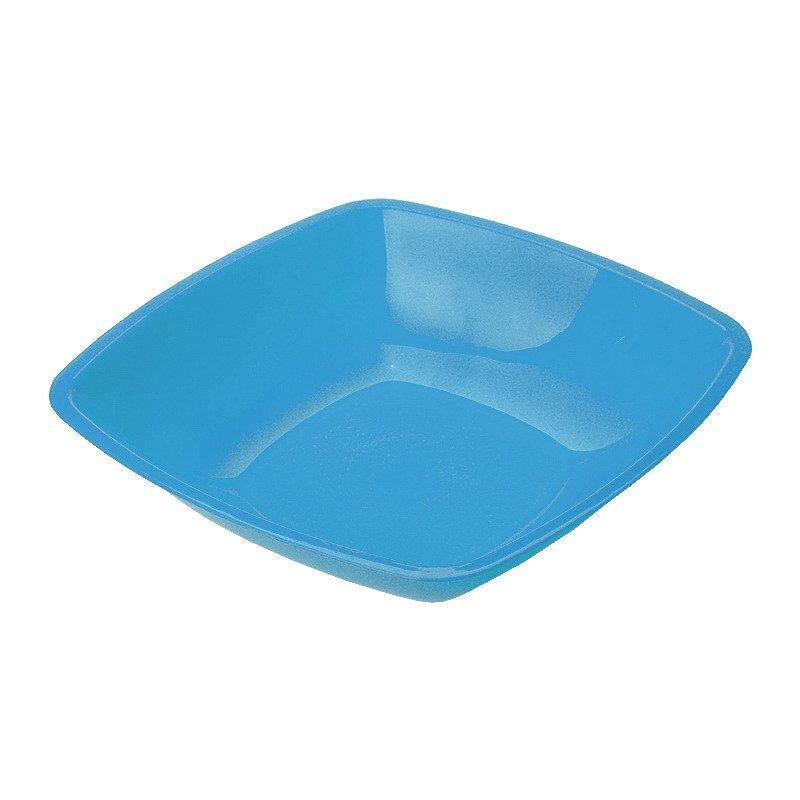 Тарелка квадратн., 180мм, глубок., голуб., ПП, 6 шт