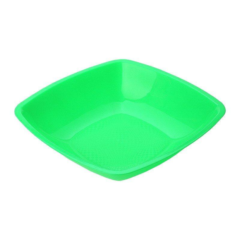 Тарелка квадратная глубокая , салатовая, 180мм , 6 шт