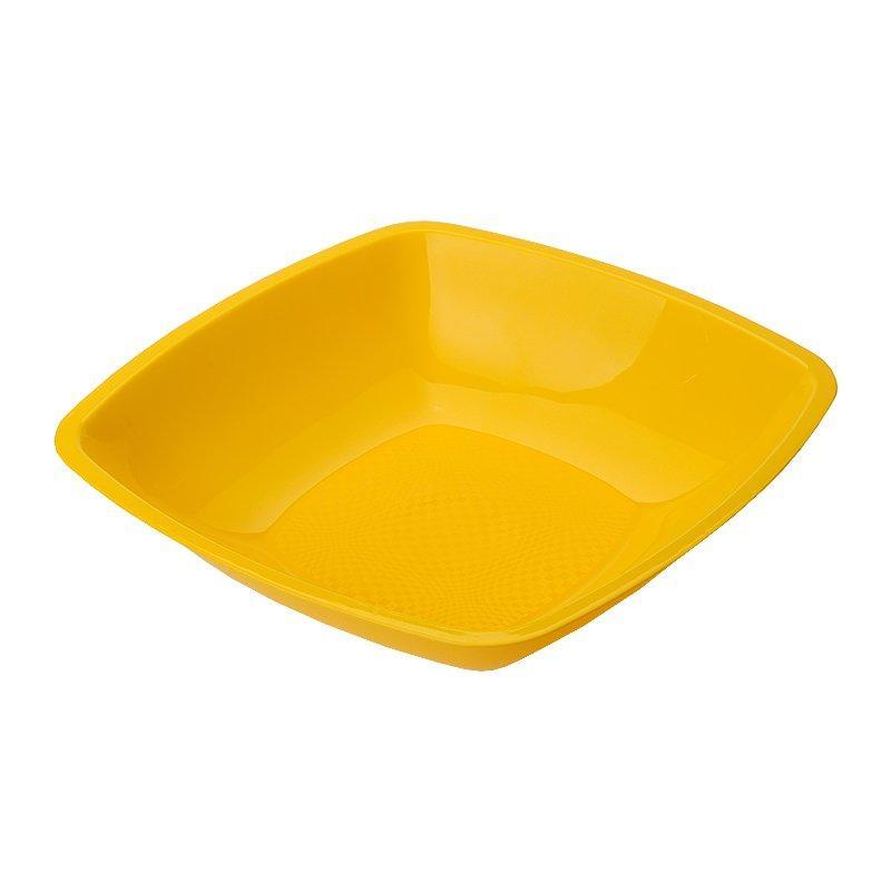 Тарелка квадратная глубокая ,Желтая,180мм  ПП, 6 шт