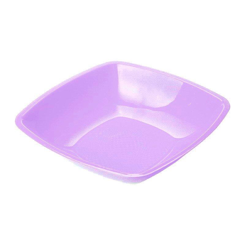 Тарелка квадратная глубокая Сиреневая,180мм  ПП, 6 шт