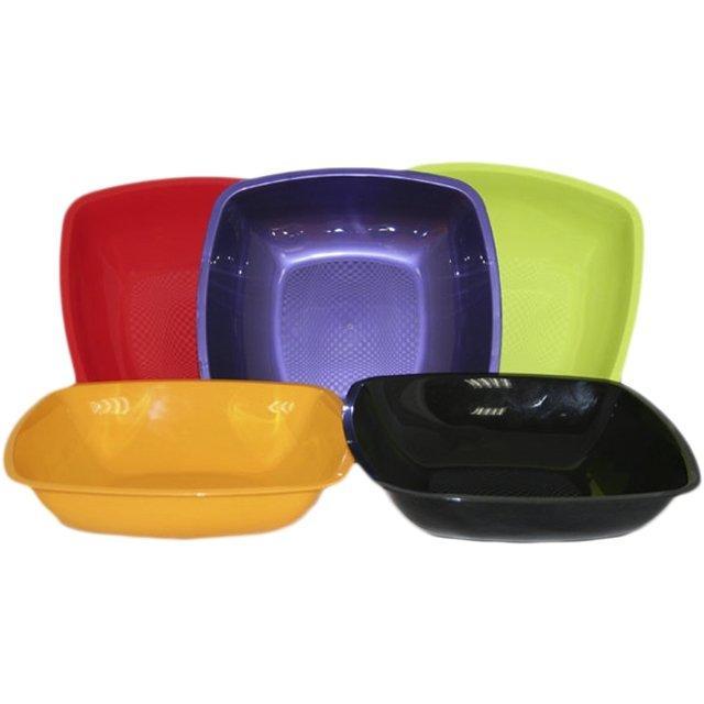 Тарелка квадратная глубокая, цвета в ассортименте, 180мм , 6 шт