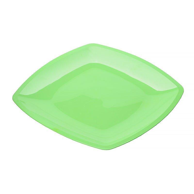 Тарелка квадратная плоская, Салатовая,230мм, ПП, 6 шт