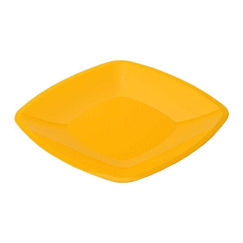 Тарелка квадратная плоская, желтая, 180мм, 6 шт