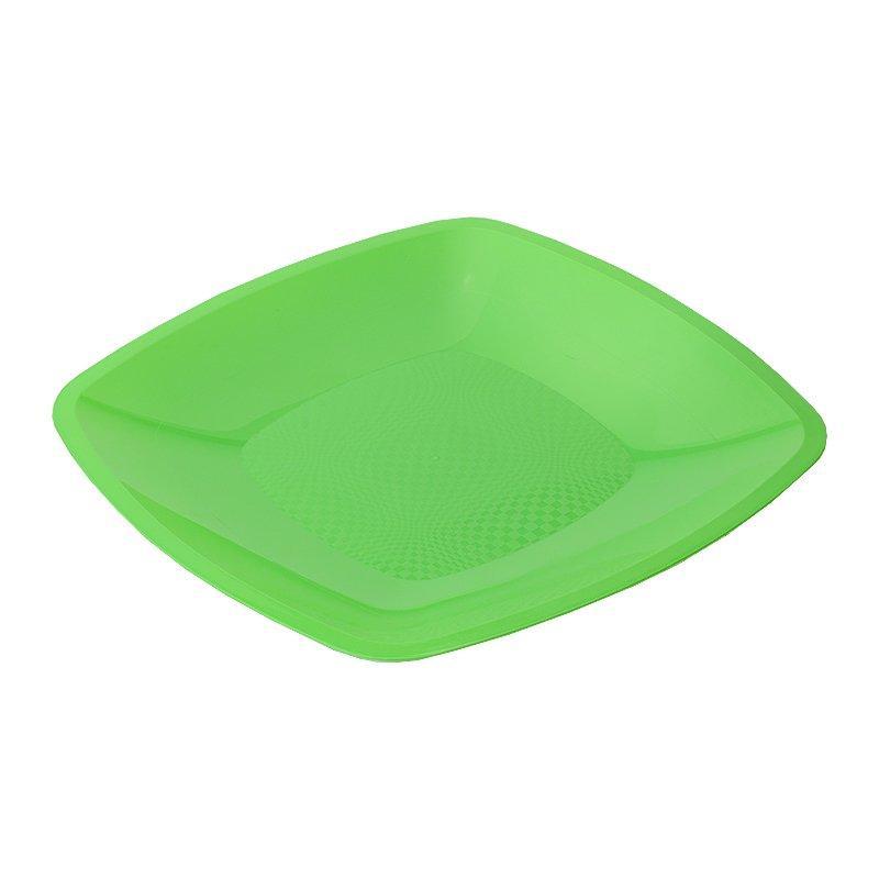 Тарелка квадратная плоская, салатовая, 180мм, 6 шт