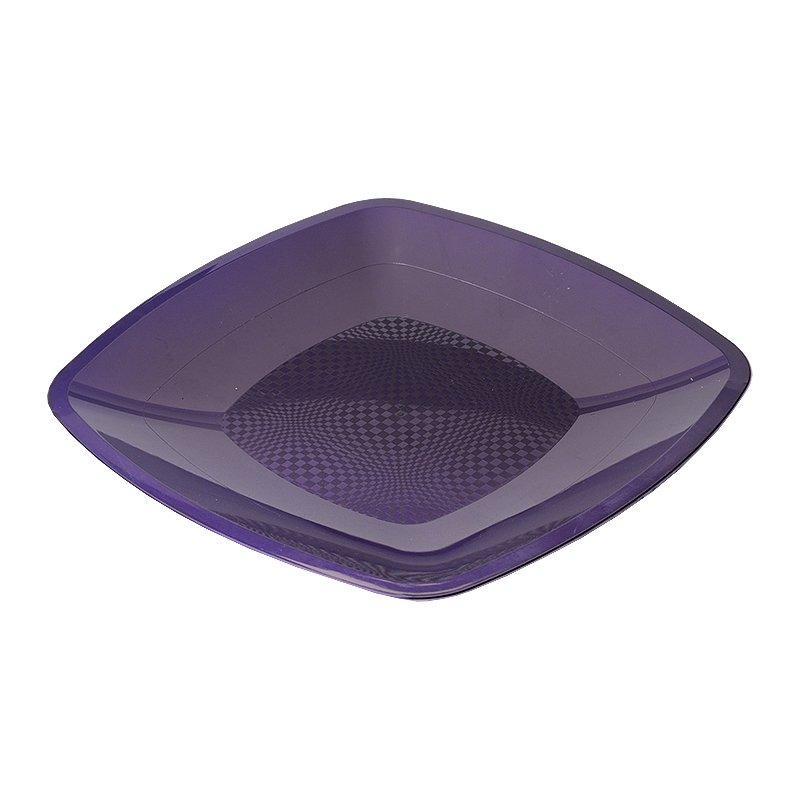 Тарелка квадратная плоская, сиреневая, 180мм, 6 шт