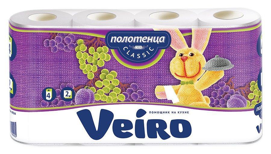Полотенца бумажные 2сл. 4 рул. VEIRO Classic , 4 шт