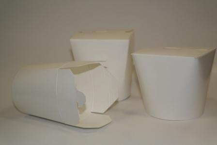 Коробка д/лапши картонная белая,  ламинированный картон 500 мл, 480 шт