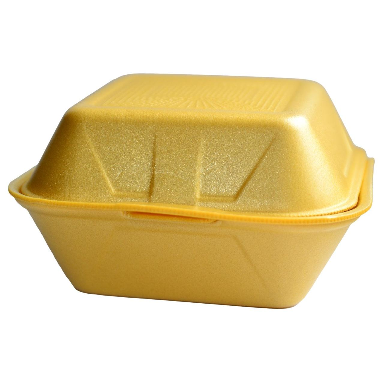 Коробка для гамбургера внеш. 145х145х80мм, внутр. 135х135х75мм, бел/жёлт., ВПС, 500 шт