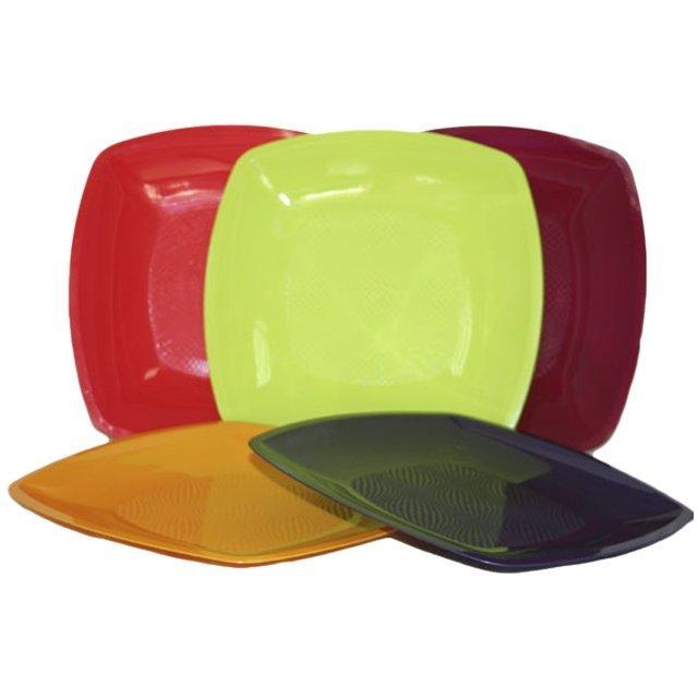 Тарелка квадратная плоская, цвета в ассортименте, 230мм, ПП, 6 шт