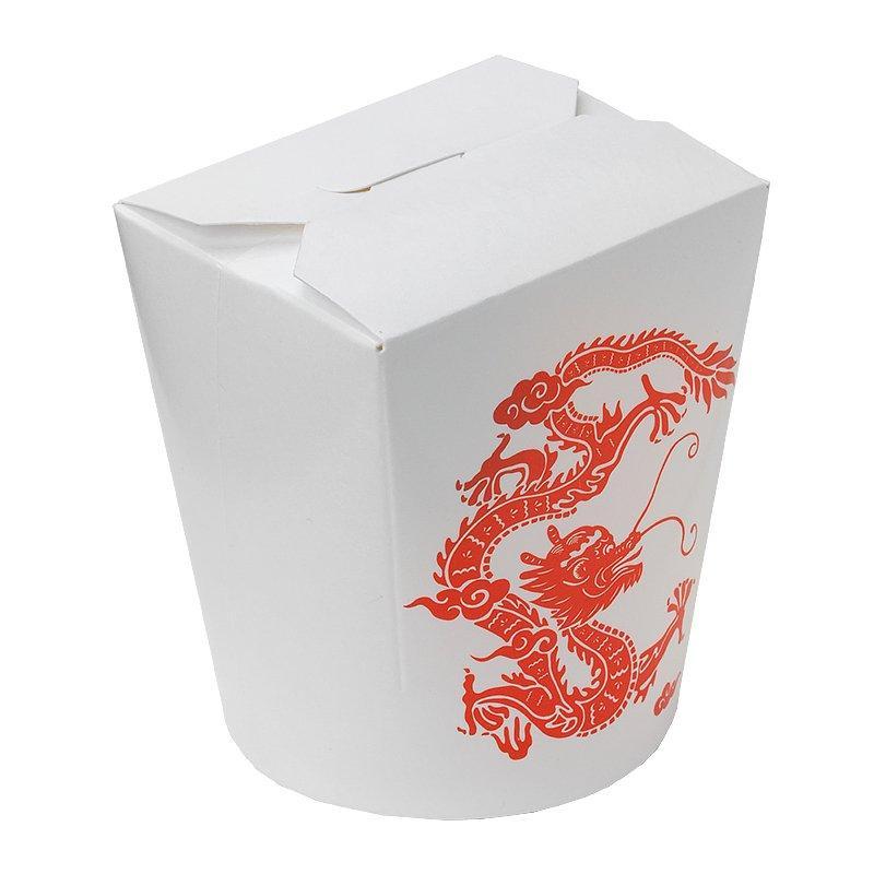 """Коробка д/лапши картонная белая с рисунком """"Красный Дракон"""",  ламинированный картон 700 мл, 450 шт"""