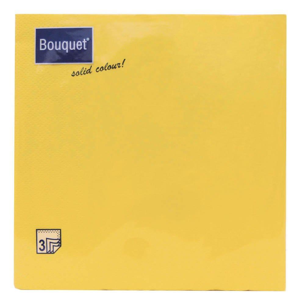 Салфетки 33х33см, 3 сл., жёлт, бумага, 20 шт
