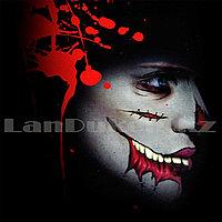 Временная татуировка на Хэллоуин в виде рта + зашитый шрам и шрам на нос M-08