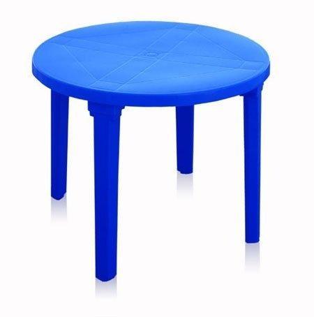 Стол круглый, d 90см, синий, ПП