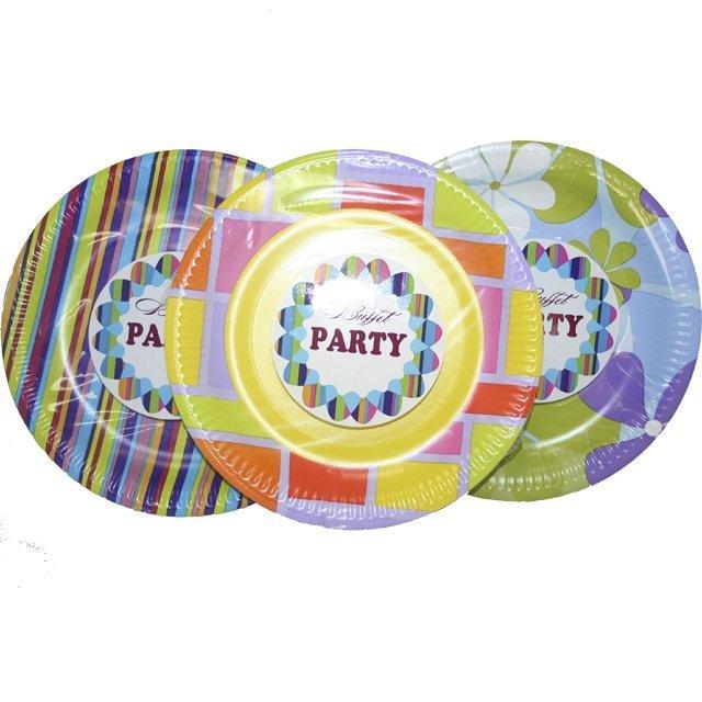 Тарелка d 230мм, дизайн, цвет в ассортименте, 6 шт