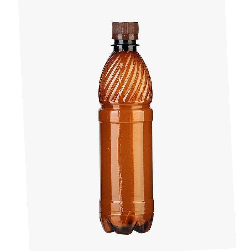 ПЭТ бутылка, коричн., 0.5 л с крышкой, 100 шт