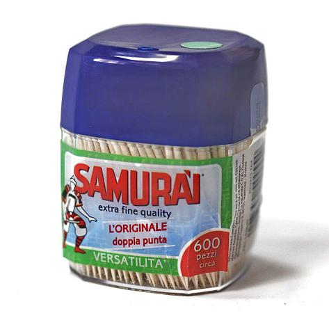 Зубочистки березовые в пластик. диспенсере 600шт.  Samurai, 600 шт, фото 2