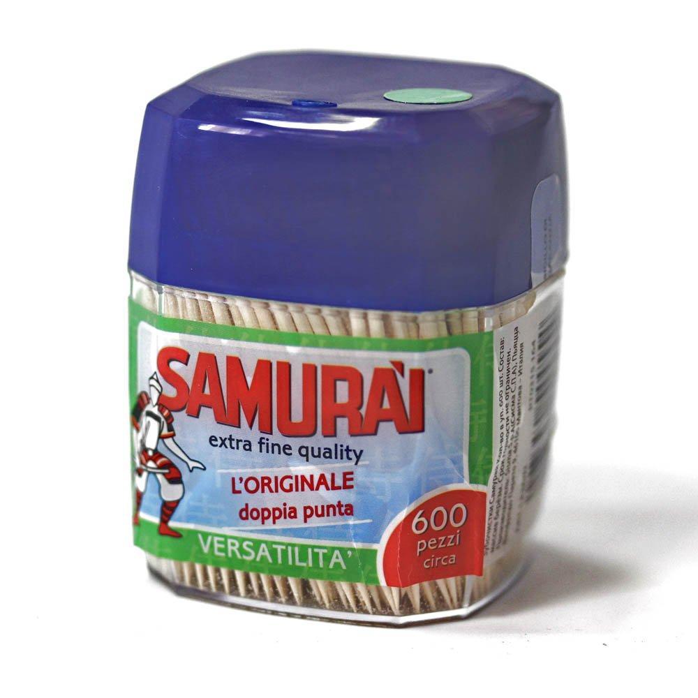 Зубочистки березовые в пластик. диспенсере 600шт.  Samurai, 600 шт