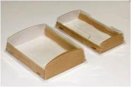 """Коробка """"DoEco"""" 200х100х40мм ECO OpBox 600, с прозрачной крышкой, коричн., 200 шт"""