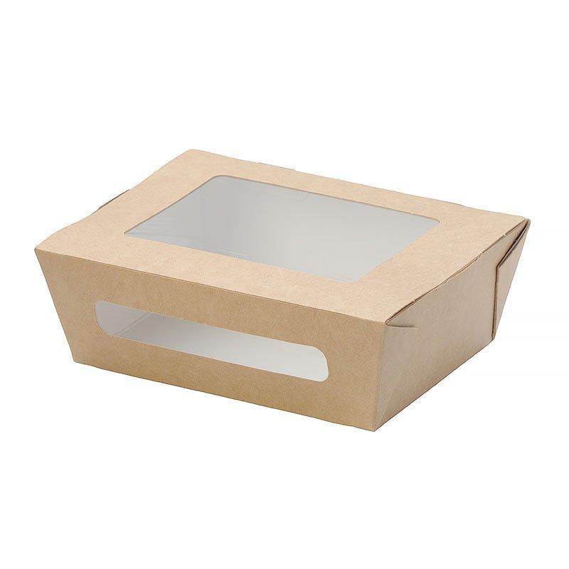 """Коробка """"DoEco"""" 150х115х50мм ECO SALAD 600, с окном, коричн. (Салатник), 350 шт"""