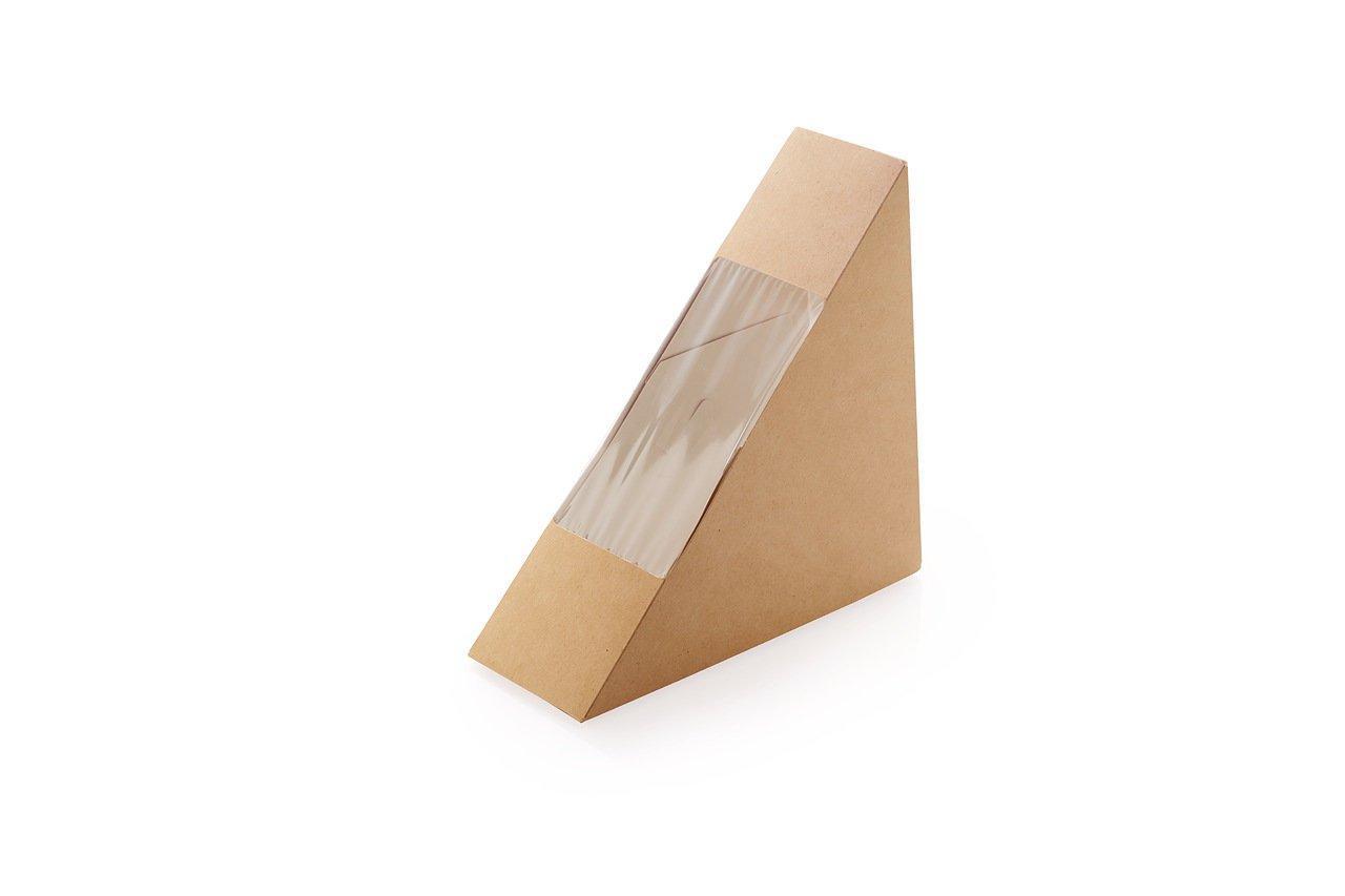 """Коробка """"DoEco"""" 130х130х50мм ECO SANDWICH 50, с окном, под сэндвичи, коричн., 600 шт"""