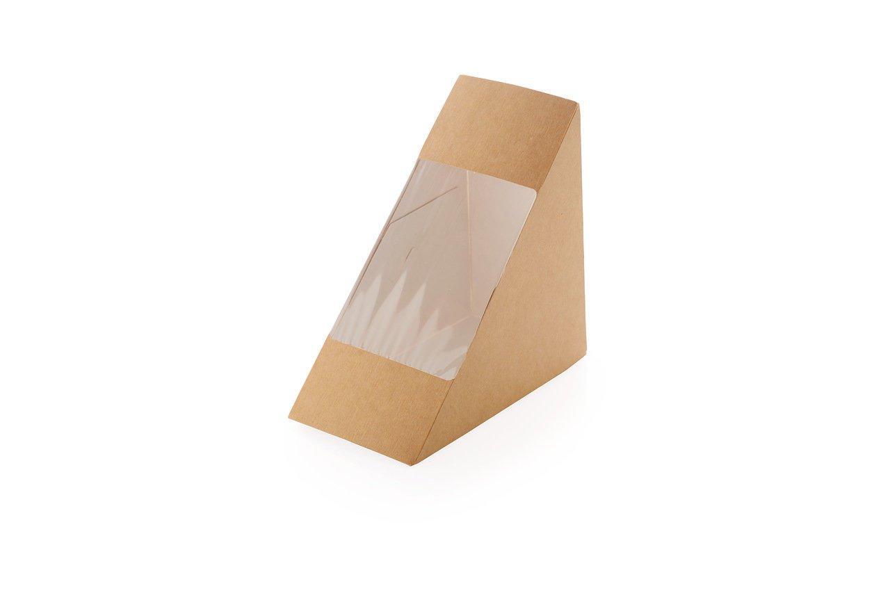 """Коробка """"DoEco"""" 130х130х70мм ECO SANDWICH 70, с окном, под сэндвичи, коричн., 500 шт"""
