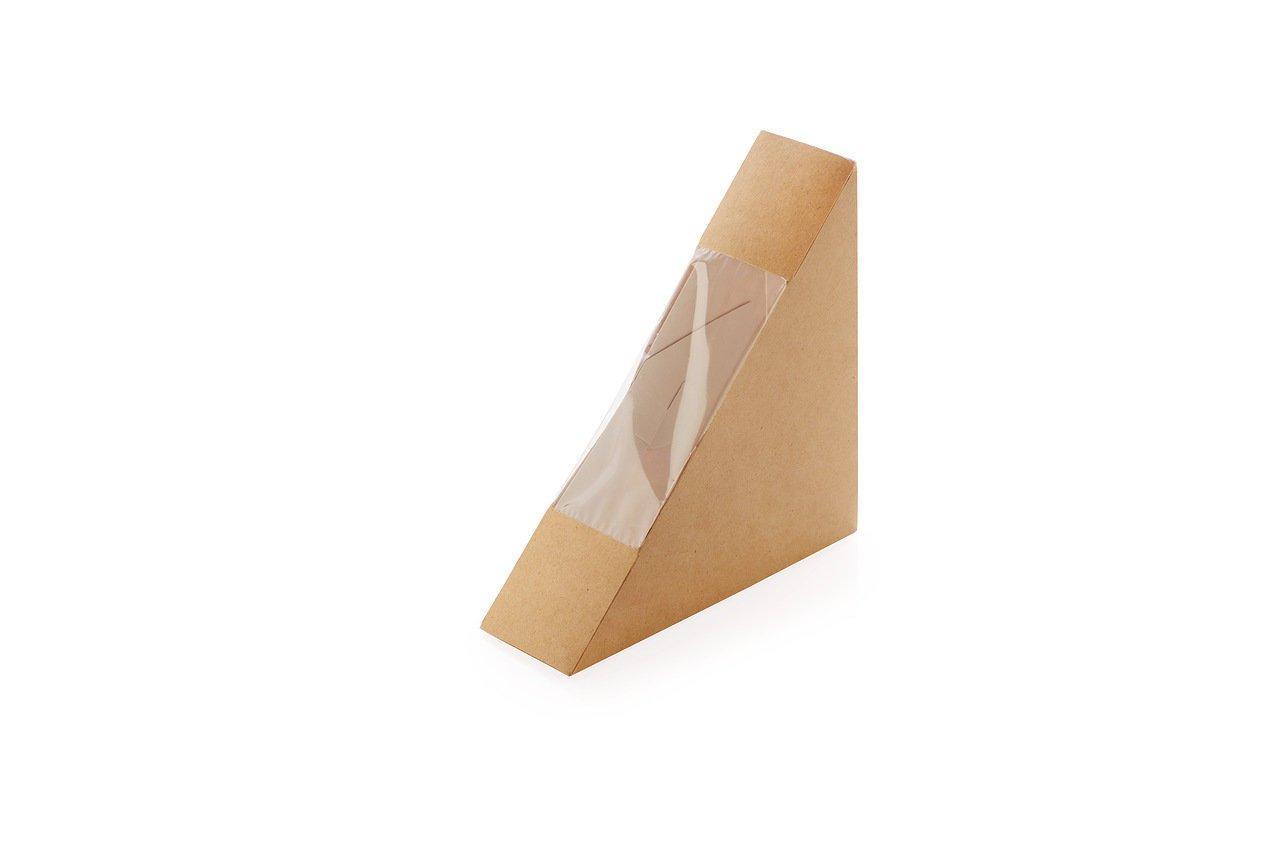 """Коробка """"DoEco"""" 130х130х40мм ECO SANDWICH 40, с окном, под сэндвичи, коричн., 600 шт"""