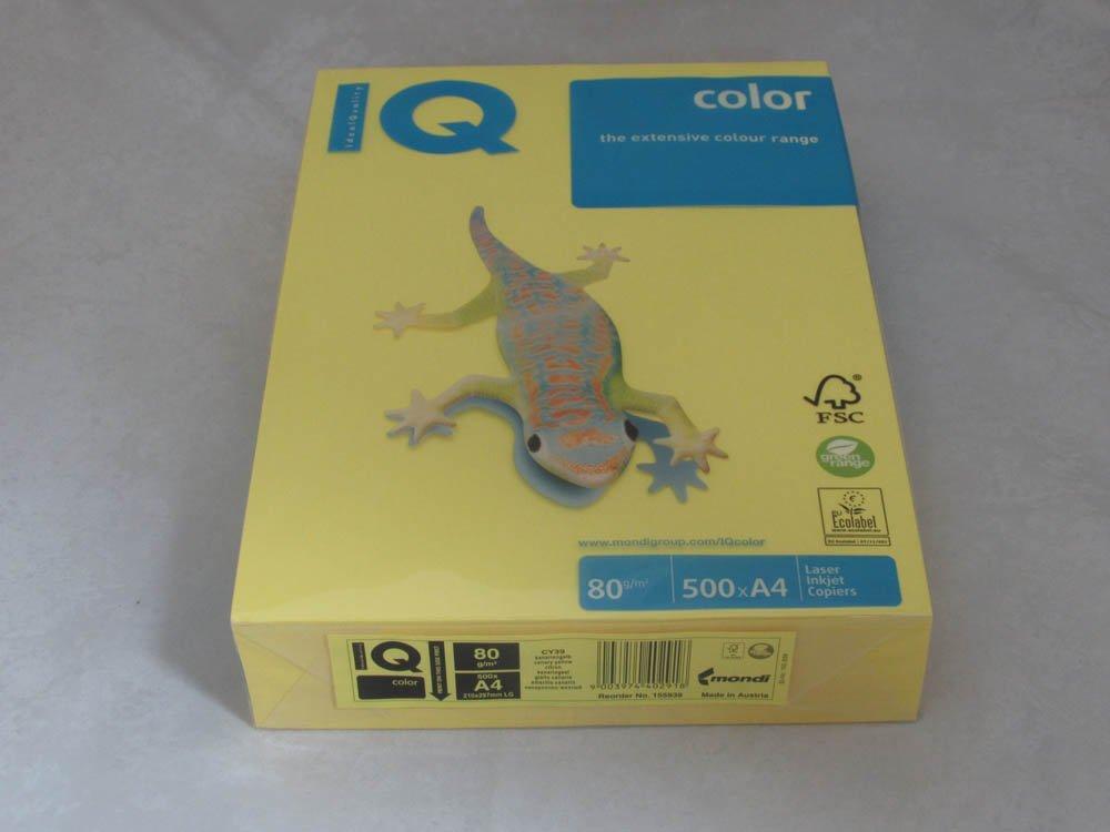 Бумага IQ Color A4, 80г/м, intensive - канареечно-желтый CY39, пачка 500 листов