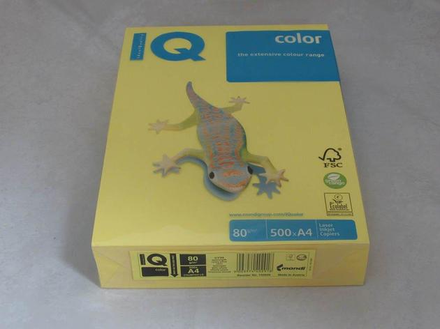 Бумага IQ Color A4, 80г/м, intensive - канареечно-желтый CY39, пачка 500 листов, фото 2