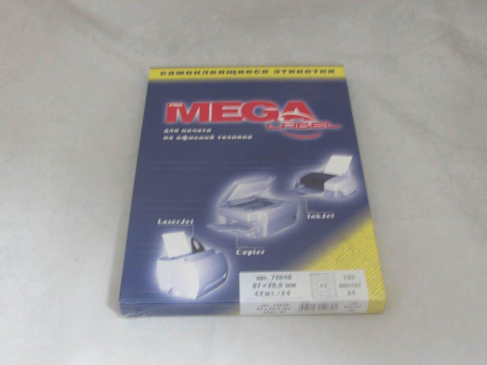 Этикетки самоклеящиеся MEGA Label 67х20,5мм 42 шт на листе А4 100 лист/упак)