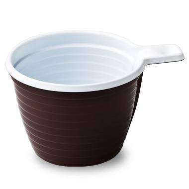 Чашка хол/гор, 0.18л, коричн/бел., ПП, 6 шт
