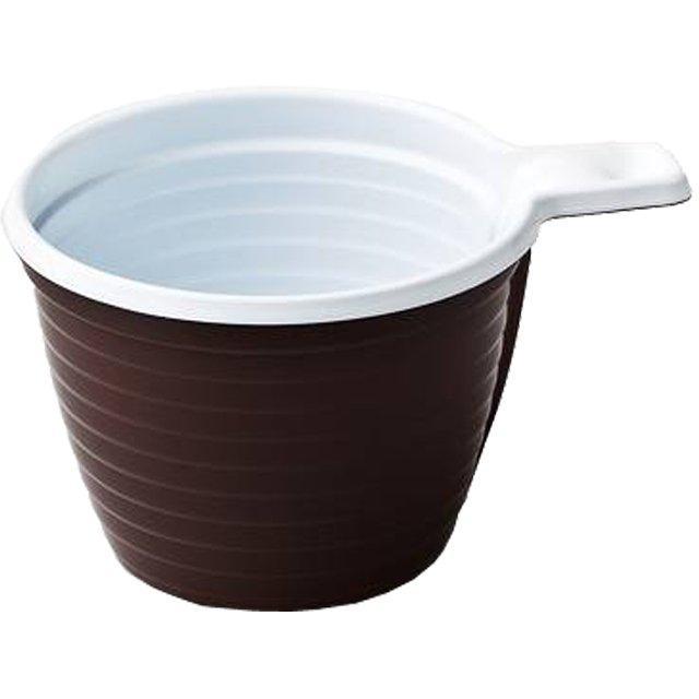 Чашка хол/гор, 0.18л., коричн/бел., ПП, 12 шт