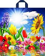 "Пакет (мешок) петля ПНД 420х380мм, 37мкм, ""Море цветов"" , 50 шт"