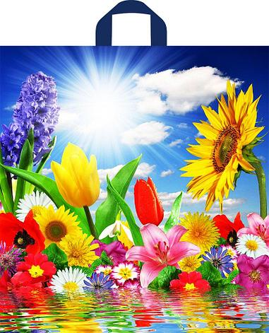 "Пакет (мешок) петля ПНД 420х380мм, 37мкм, ""Море цветов"" , 50 шт, фото 2"