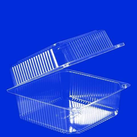 Упаковка 1(0.8+0.2)л, квадратн., внеш. 153х152х73мм, внутр. 139х139х65мм, прозрачн., ОПС, 570 шт