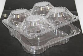 Упаковка квадрат внеш. 167x166x55мм, внутр. 4 секции d-44 h-44мм, на 4 корзинки 0.4кг, прозрачная, ОПС, 420 шт
