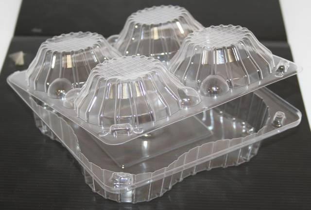 Упаковка квадрат внеш. 167x166x55мм, внутр. 4 секции d-44 h-44мм, на 4 корзинки 0.4кг, прозрачная, ОПС, 420 шт, фото 2