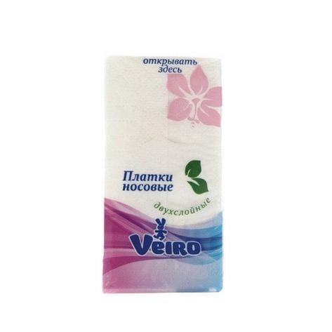 Носовые платки 2 сл., Veiro, бел. без аромата, Бумага, 10 шт, фото 2