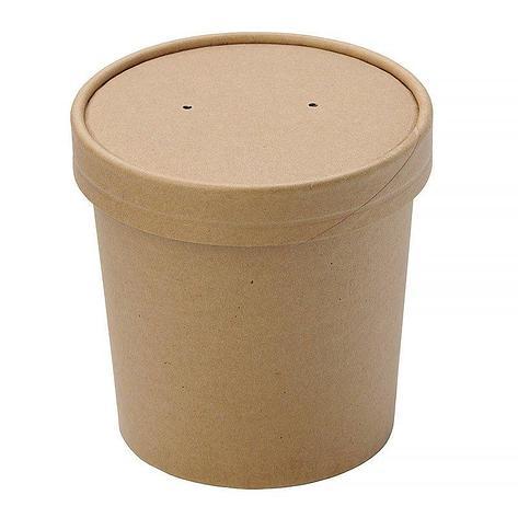 "Упаковка ""DoEco"" d-70мм, h-85мм, 340мл ECO SOUP 12С, для супа, коричн., 250 шт, фото 2"