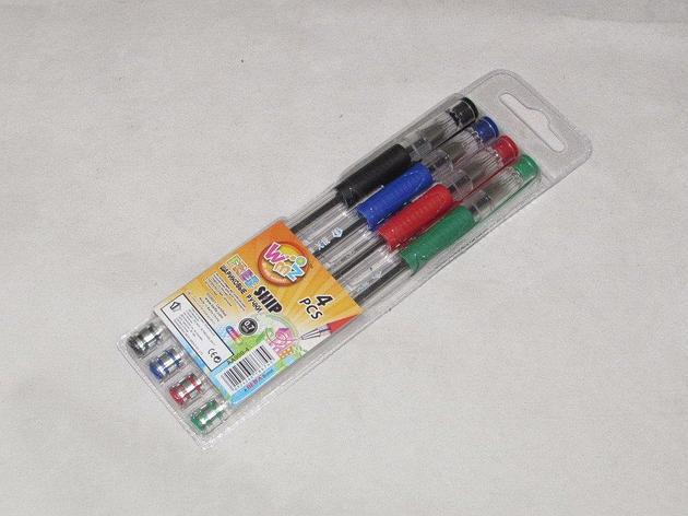 Ручка шариковая Beifa 4цв/набор с резин.манжет. АА 0,7 мм, 4 шт, фото 2