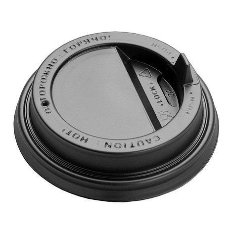 Крышка д/стаканов, д/хол./гор., d 80мм, чёрн., с клапаном, ПС, 1000 шт, фото 2