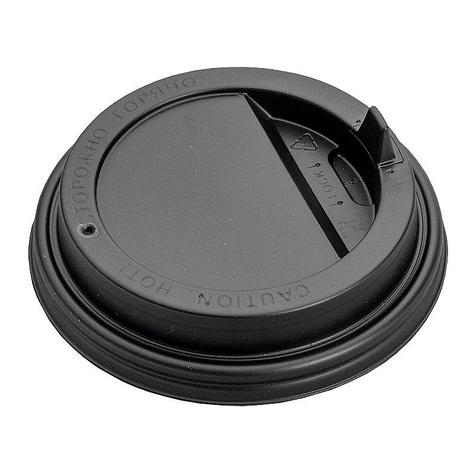Крышка д/стаканов, д/хол./гор., d 90мм, чёрн., с клапаном, ПС, 1000 шт, фото 2