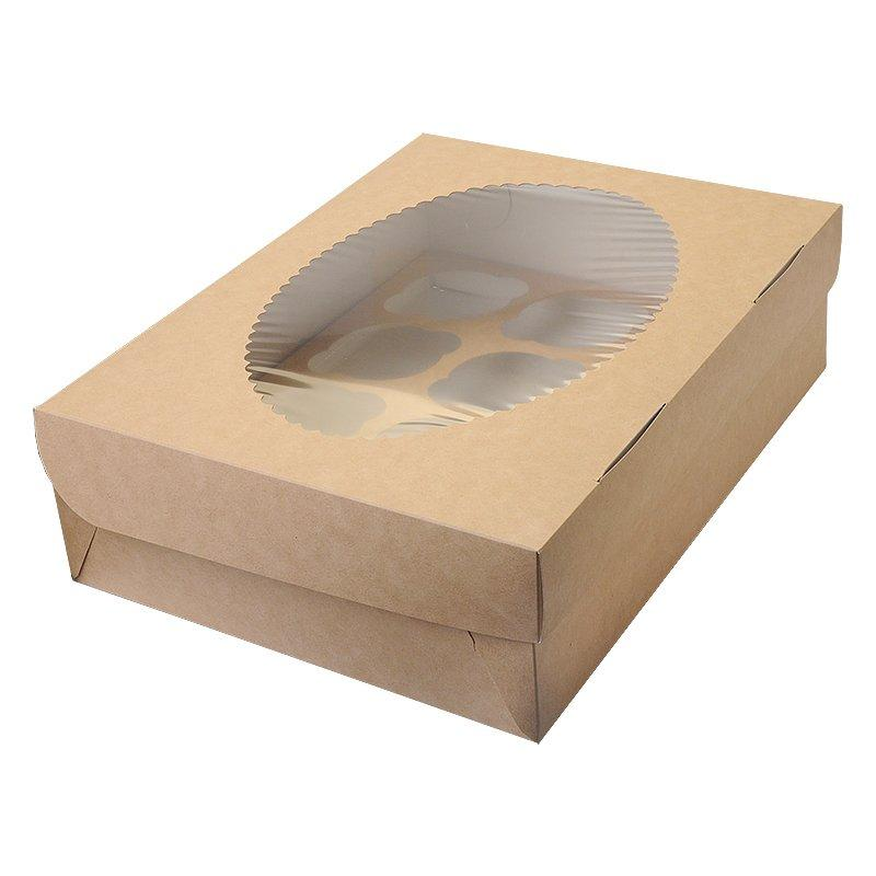 """Коробка """"DoEco"""" 330х250х100мм ECO MUF 12, с окном, коричн/белый , 100 шт"""