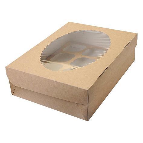 """Коробка """"DoEco"""" 330х250х100мм ECO MUF 12, с окном, коричн/белый , 100 шт, фото 2"""