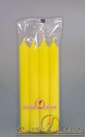 Свеча столовая 175мм (d19 мм) вес 40 гр желтая, 4 шт, фото 2